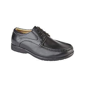 Roamers Black Leather Xxx Extra Wide 4 Eyelet Casual Shoe