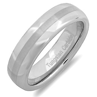 Dazzlingrock Collection Tungsten Carbide Unisex Ring Wedding Band 6MM Dome Brushed & Polished Comfort Fit