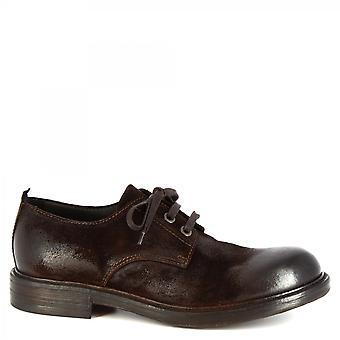 Leonardo Shoes Men's handmade lace-ups shoes in dark brown black suede leather
