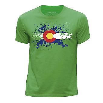 STUFF4 Boy's Round Neck T-Shirt/USA State/Colorado Flag Splat/Green