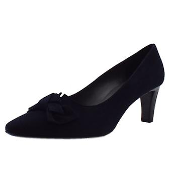 Peter Kaiser Mallory Mid Heel Pointed Toe Court Shoes In Navy Suede