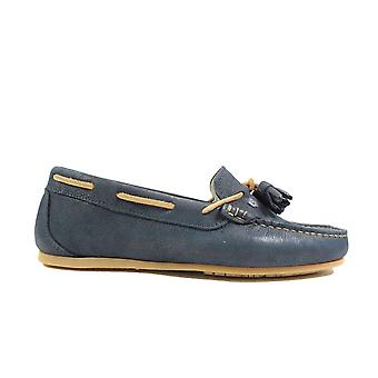 Dubarry Jamaica Navy Leather Womens Slip On Moccasin Shoes