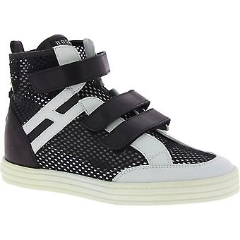Hogan Women's high top fashion sneakers in white black leather and fabric