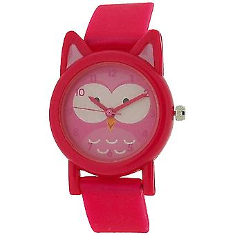 Tikkers Analogue Kids Pink Owl Design Pink Rubber/Silicone Strap Watch TK0092