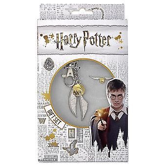 Harry Potter Golden Snitch Keyring And Badge Set