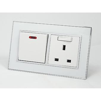 I LumoS AS Luxury White Mirror Glass Double 45A Switch with Switched 13A UK Socket