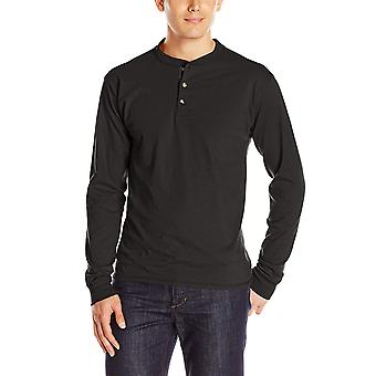 Hanes Men's Long-Sleeve Beefy Henley T-Shirt - Small - Ebony, Ebony, Size Small