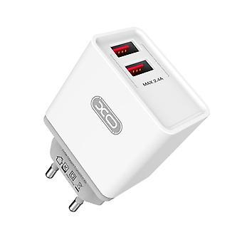XO™ Snabbladdning Väggadapter iPhone, Samsung 2,4A 2x USB