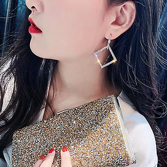 Gold Rhinestones Square Hoops