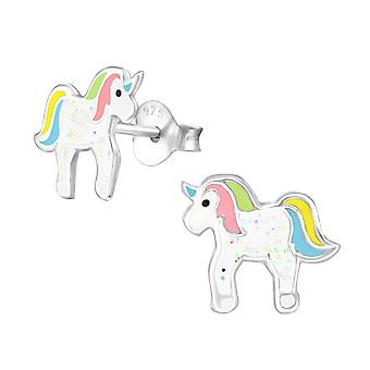 Unicorn - 925 Sterling Silver Colourful Ear Studs - W35139x