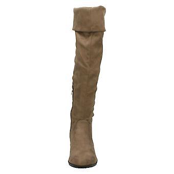 بقعة على المرأة/السيدات الكعب المنخفض الركبة عالية الأحذية