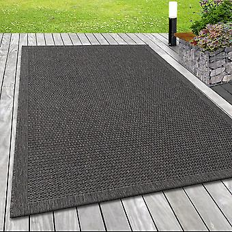 In& & Outdoor flat fabric rug weaving pattern sisal optic lines design in taupe