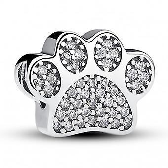 Sterling Silber Charm Hundepfote Mit Zirkonia - 5217