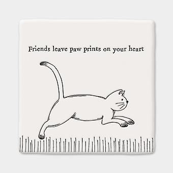East of India Square Porcelain Keepsake Coaster Running Cat Friends Paw Prints
