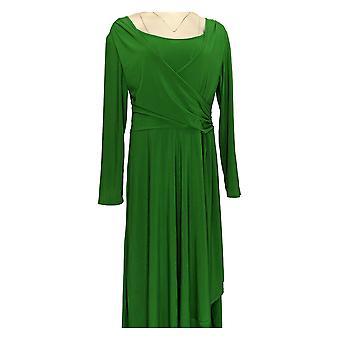Serengeti Dress Liquid Knit Long Sleeve w/ Ruched Detail Green