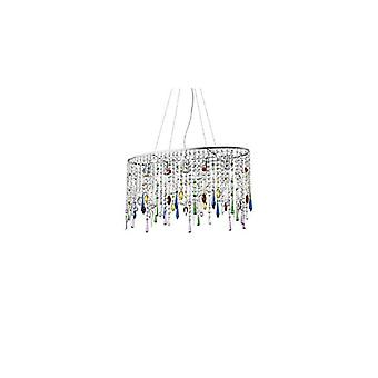 Multicolor Crystal Pendant Light Rain Color 5 Bulbs