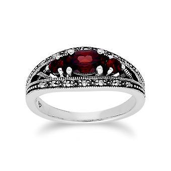 Art-Deco-Stil Oval Granat & Marcasite drei Stein Ring in 925 Sterling Silber 214R424002925