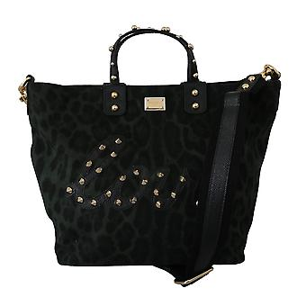 Green leopard studded love beatrice cotton tote bag