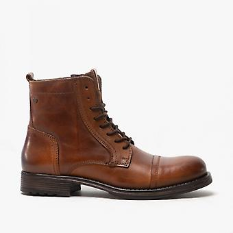 Jack & Jones Russel Mens Leather Ankle Boots Cognac