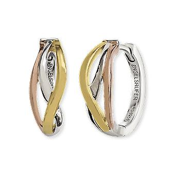 Angel Whisperer Paradise Sterling Silver Rhodium Rose Gold Plated 16.5mm Hoop Earrings ERE-PARADISE-TRI-CR