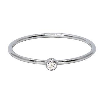 Sterling Silver April Birthstone Stacking Ring 2mm White Cubic Zirconia