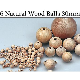 6 Untreated 30mm Wooden Bead Balls with Threading Holes for Crafts