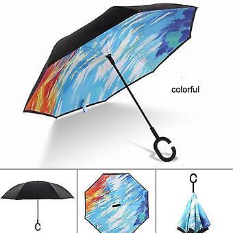 C Handle Windproof Reverse Folding Umbrella Man Women Sun Rain Car Inverted Umbrellas Double Layer