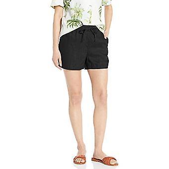 "28 Palms Women's 4"" Inseam Linen Short with Drawstring, Black Medium"