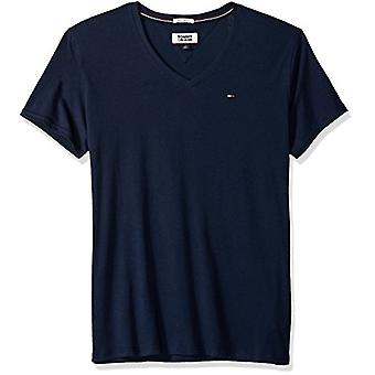 Tommy Jeans Mænd's V Neck T Shirt, Tommy Navy, Medium