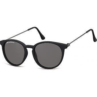 Solbriller Unisex panto matt svart (S33)