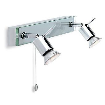 2 Lumières commutées Bar Aluminium léger, verre transparent, GU10