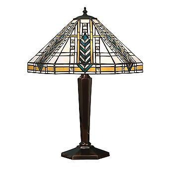 2 kevyt keskikokoinen pöytälamppu tiffany lasi, syvä antiikki patina, E27