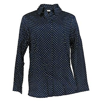 Isaac Mizrahi ao vivo! Women's Top Button Down Collared Blue A378608