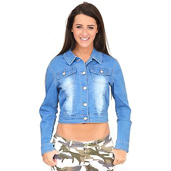 Faded Fitted Cropped Denim Jacket
