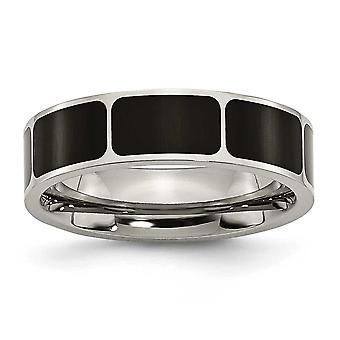 Titan Flachband Schlossdrücker schwarzer Emaille flach 6mm poliert Bandring - Ringgröße: 6 bis 13