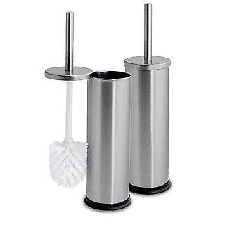 Enclosed Toilet Brush & Holder Bathroom Set - Brushed Steel Finish - Pack of 2