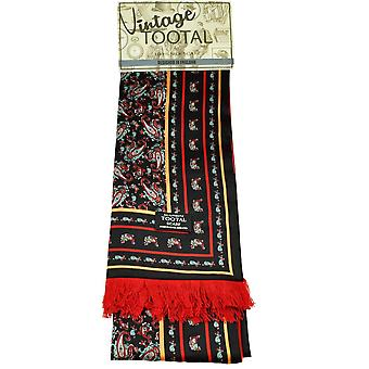 Ties Planet Tootal Black, Red, Orange, Blue & White Paisley Patterned Silk Scarf