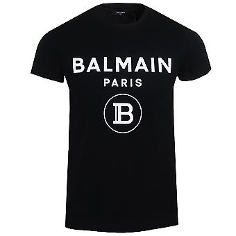 Balmain men's black velvet logo t-shirt