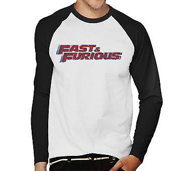 Nopea ja raivoisa punainen logo men's baseball pitkähihainen t-paita