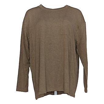 Isaac Mizrahi Live! Women's Top Relaxed French Terry Long Sleeve Brown