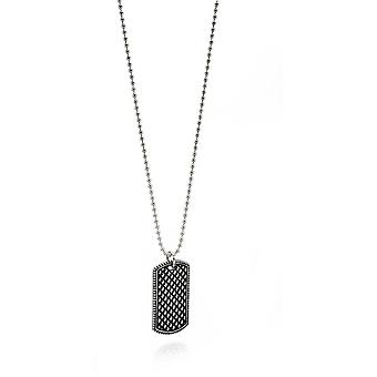 Fred Bennett Stainless Steel Oxidized Textured Dog Tag Pendentif Collier de longueur 55cm