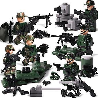 Moderní vojenské šermířské útočné figurky stavební blok, armádní síly zbraně cihly