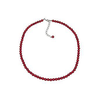 Halskjede Perler 6mm Silke-vin-rød