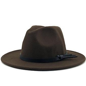 Nieuwe vrouwen mannen wol Fedora hoed met lederen lint gentleman elegante dame Winter