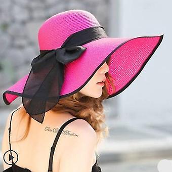 Nyári nagy karimájú szalma floppy széles karimájú sun cap bowknot strand összecsukható kalapok