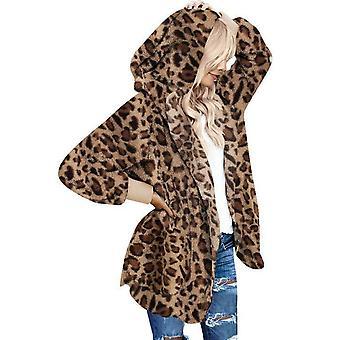 Nők Téli Leopard Puha gyapjú kapucnis