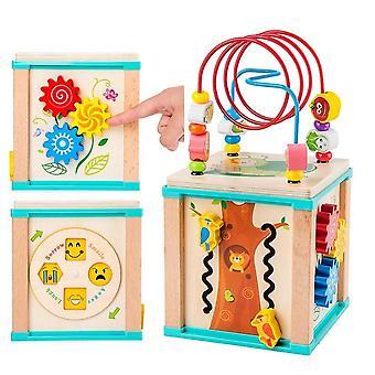 Træ Montessori Beaded Maze Shape Anerkendelse Legetøj