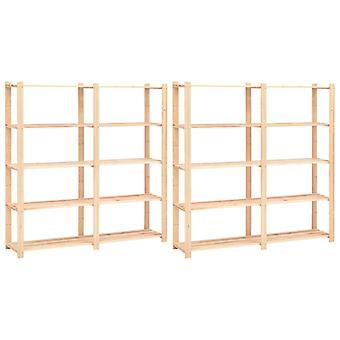 Storage racks 5 floors 2 pcs. 170x38x170cm solid wood pine 500kg