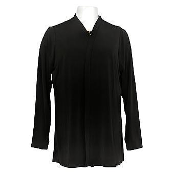 Susan Graver Women's Sweater Liquid Knit Top & Cardigan Set Black A384254