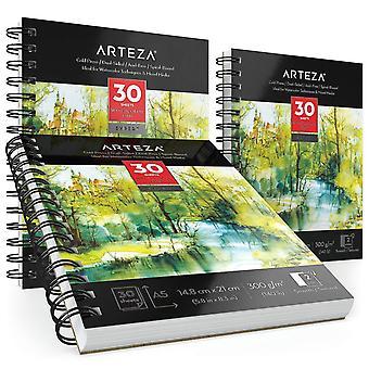 Arteza a5 aquarelle experte pad (148 x 210 mm), pack de 3, 90 feuilles (300gsm), 30 feuilles chacune, spir
